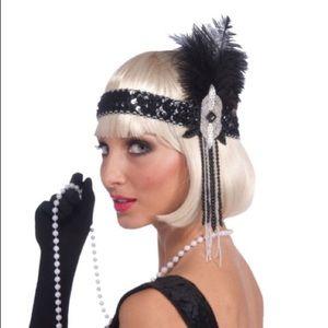 Black and silver flapper headband